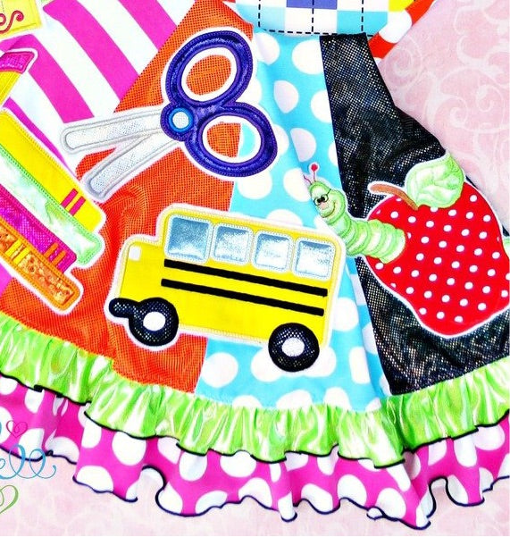 School Book Stack Applique Design - Ellie and Mac, Digital (PDF) Sewing Patterns | USA, Canada, UK, Australia