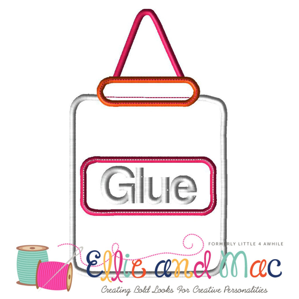 School Glue Applique Design - Ellie and Mac, Digital (PDF) Sewing Patterns | USA, Canada, UK, Australia