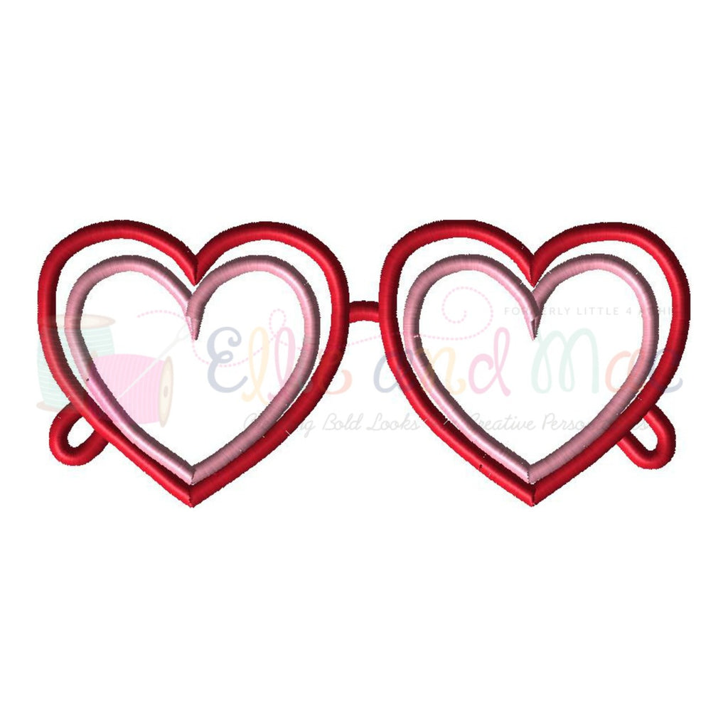Heart Sunglasses Valentine Applique Design