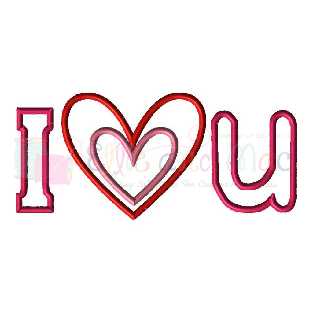 I Heart U Valentine Applique Design