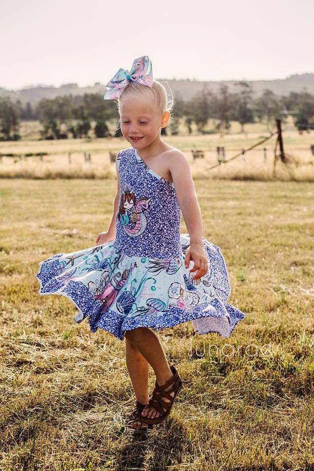 Girl's Island Hopper One Shoulder Dress Pattern - Ellie and Mac, Digital (PDF) Sewing Patterns | USA, Canada, UK, Australia