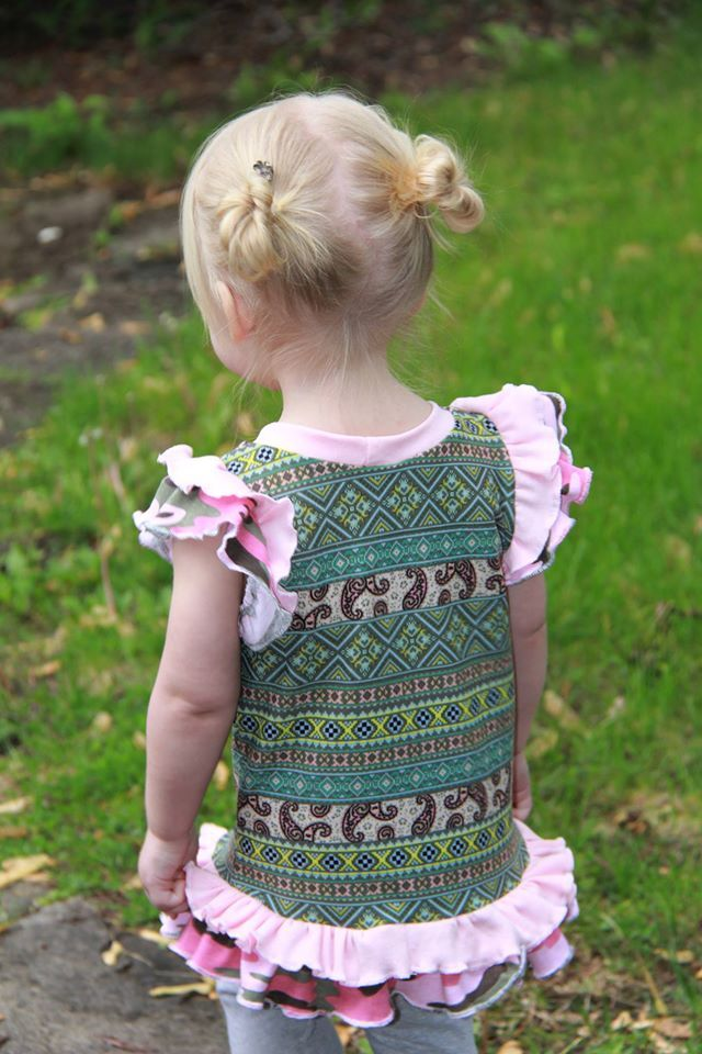 Girls Kaila Flutter Sleeve Top Pattern - Ellie and Mac, Digital (PDF) Sewing Patterns | USA, Canada, UK, Australia