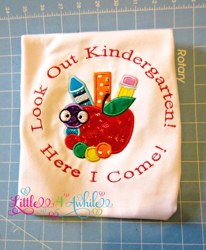 Kindergarten Here I Come Applique Embroidery Design