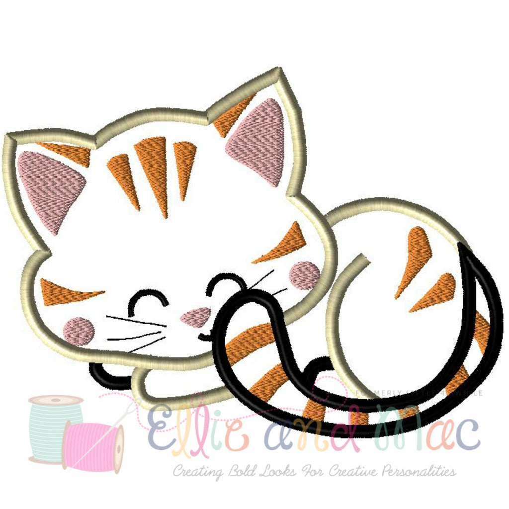 Pampered Kitten Sleeping Applique Design