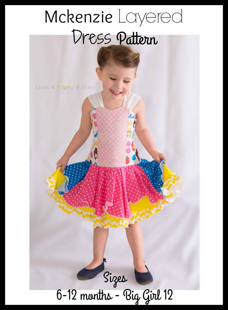 Girl's Mckenzie Layered Dress Pattern - Ellie and Mac, Digital (PDF) Sewing Patterns | USA, Canada, UK, Australia