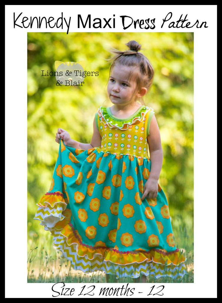 Girls Kennedy Maxi Dress Pattern - Ellie and Mac, Digital (PDF) Sewing Patterns | USA, Canada, UK, Australia