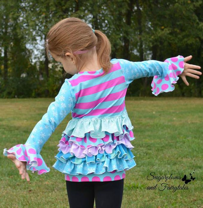 Girls Liv's Ruffled Back Tunic Pattern - Ellie and Mac, Digital (PDF) Sewing Patterns | USA, Canada, UK, Australia