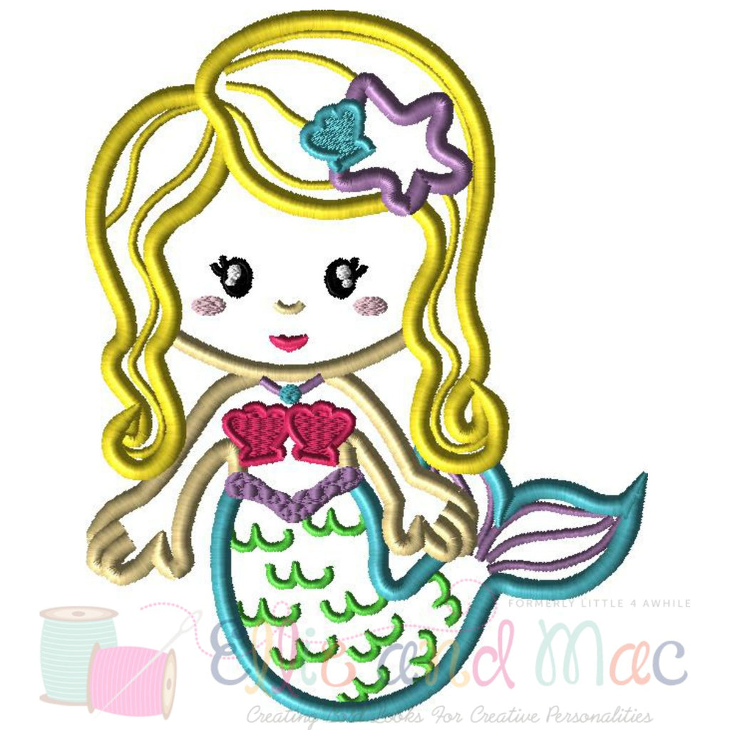 Mermaid Applique Embroidery Design