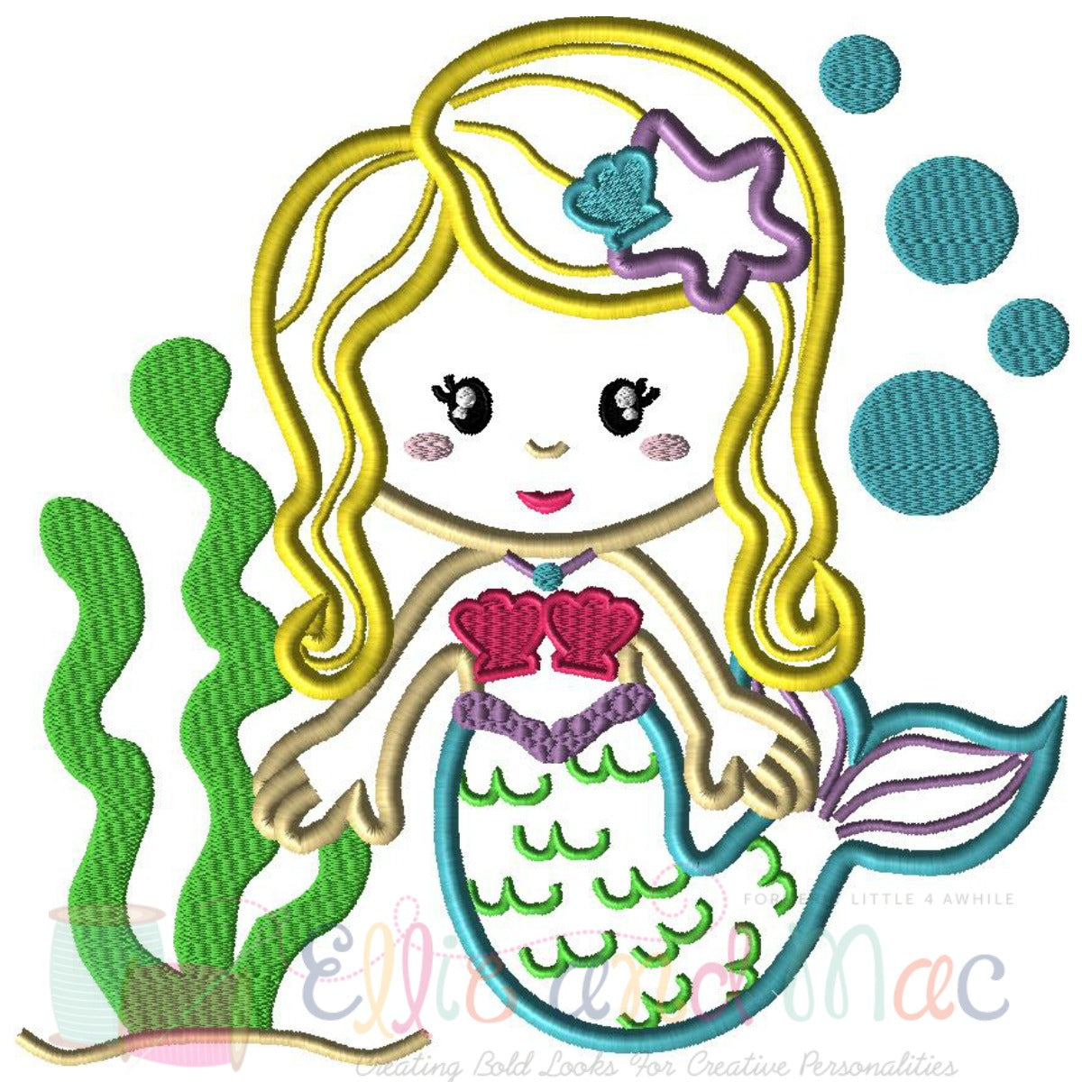 Mermaid Ocean Scene Applique Embroidery Design Ellie And Mac