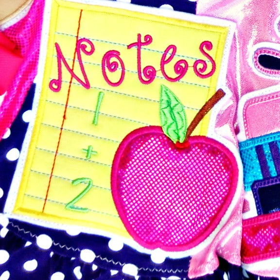 School Note Paper Apple Applique Design