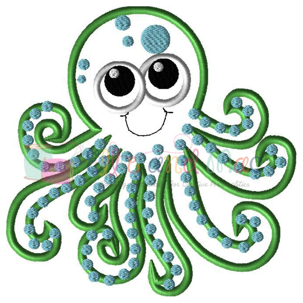 Octopus Applique Embroidery Design