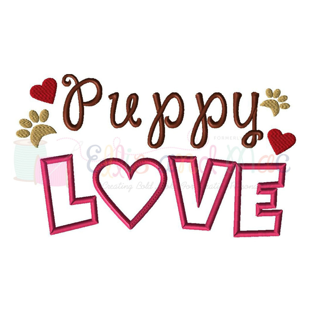 Puppy Love Saying Applique Design - Ellie and Mac, Digital (PDF) Sewing Patterns | USA, Canada, UK, Australia