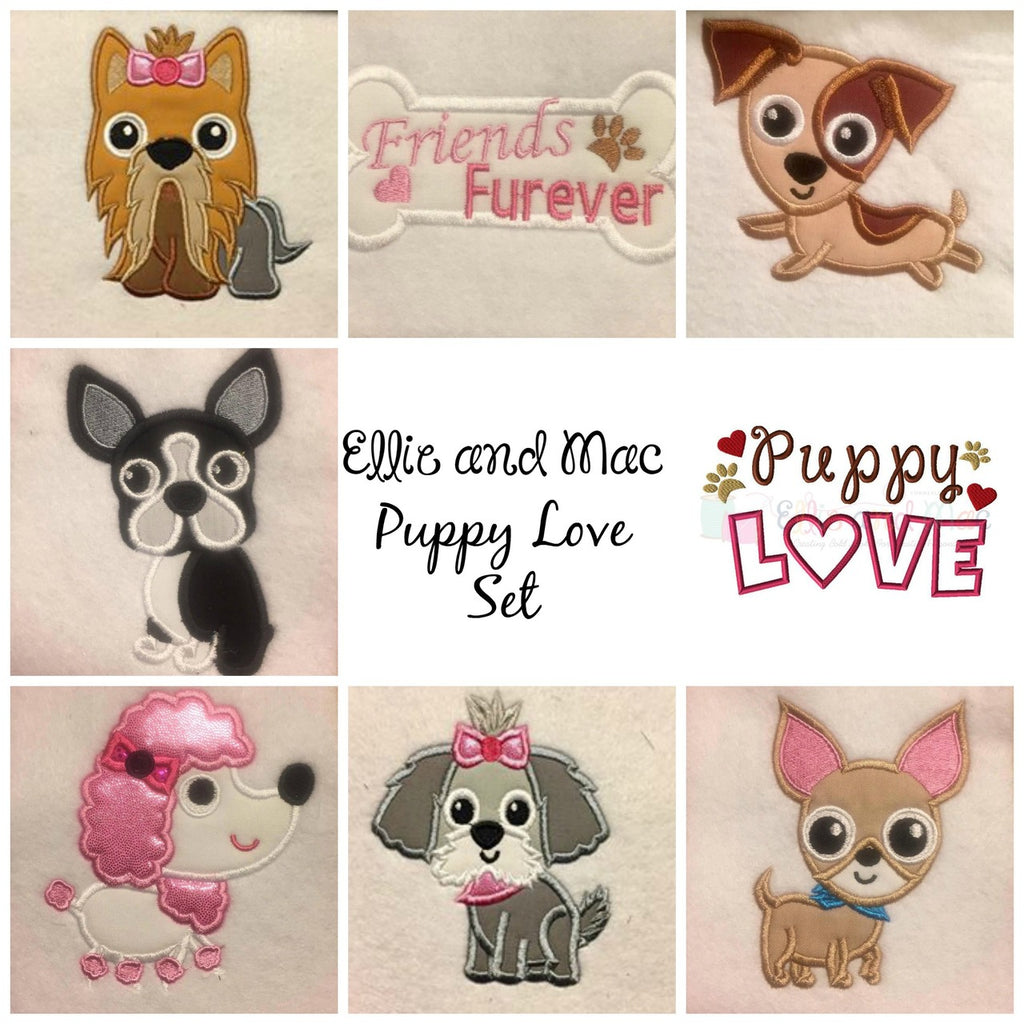 Pampered Dog Applique Design Set - Ellie and Mac, Digital (PDF) Sewing Patterns | USA, Canada, UK, Australia