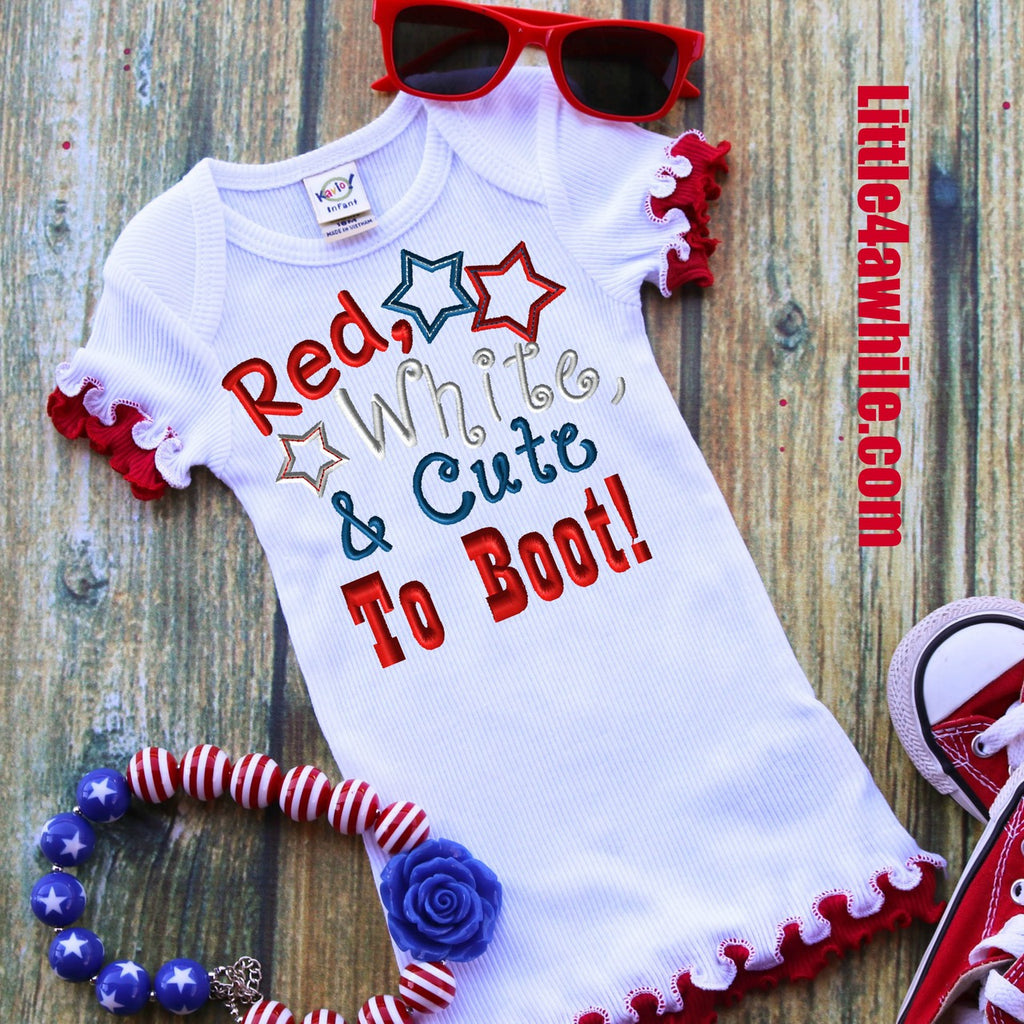 Red White & Cute To Boot! Saying Embroidery Design