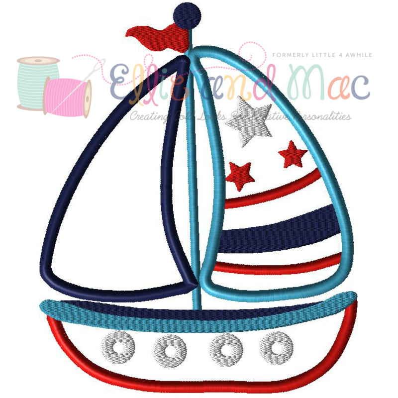 Sailboat Applique Embroidery Design - Ellie and Mac, Digital (PDF) Sewing Patterns | USA, Canada, UK, Australia