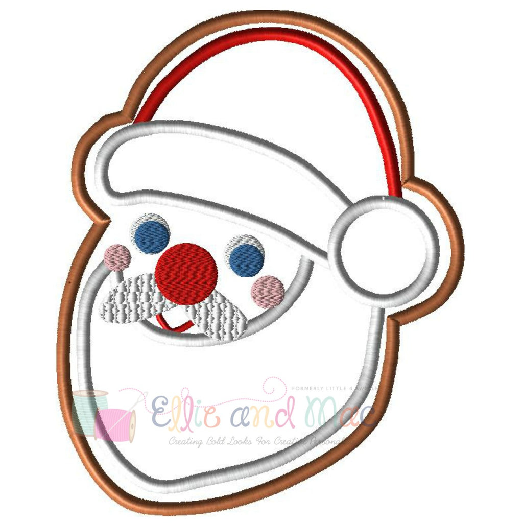 Christmas Santa Cookie Applique Design