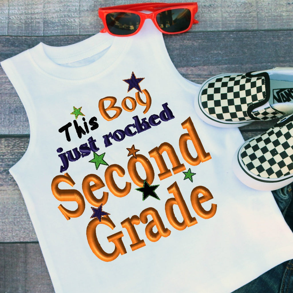 This Boy Just Rocked Second Grade Applique Embroidery Design - Ellie and Mac, Digital (PDF) Sewing Patterns | USA, Canada, UK, Australia