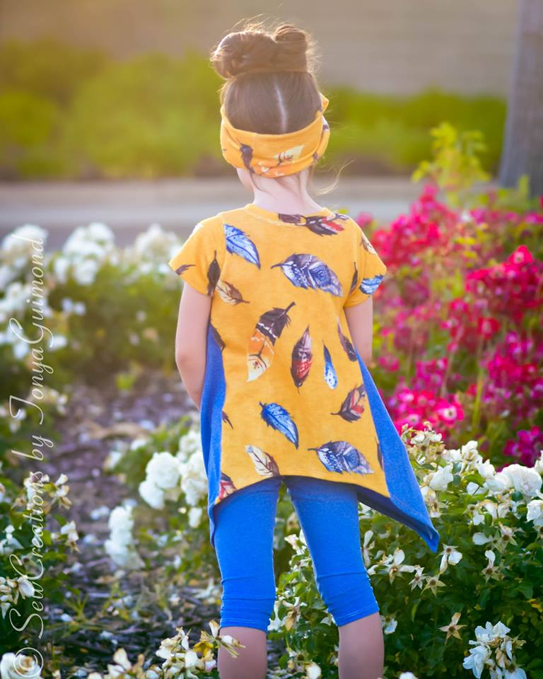 Girl's Shark Bite Top Pattern - Ellie and Mac, Digital (PDF) Sewing Patterns | USA, Canada, UK, Australia