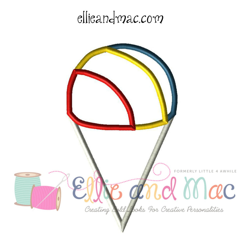 Snow Cone Applique Embroidery Design - Ellie and Mac, Digital (PDF) Sewing Patterns | USA, Canada, UK, Australia