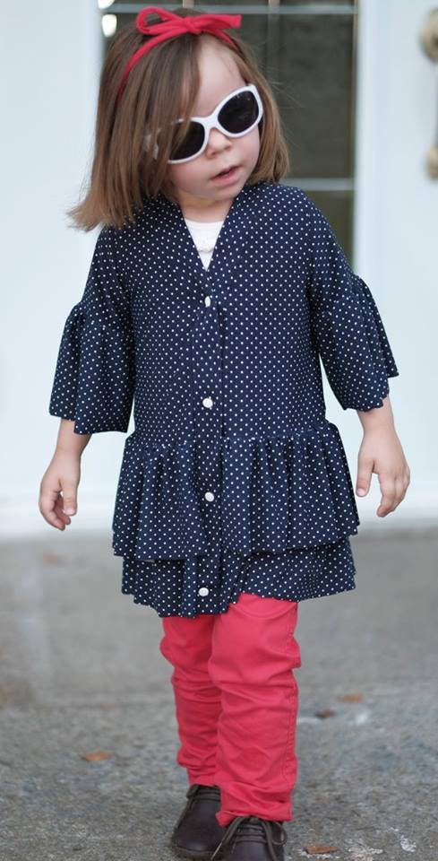 Girl's So Lovely Ruffle Cardigan Pattern - Ellie and Mac, Digital (PDF) Sewing Patterns | USA, Canada, UK, Australia