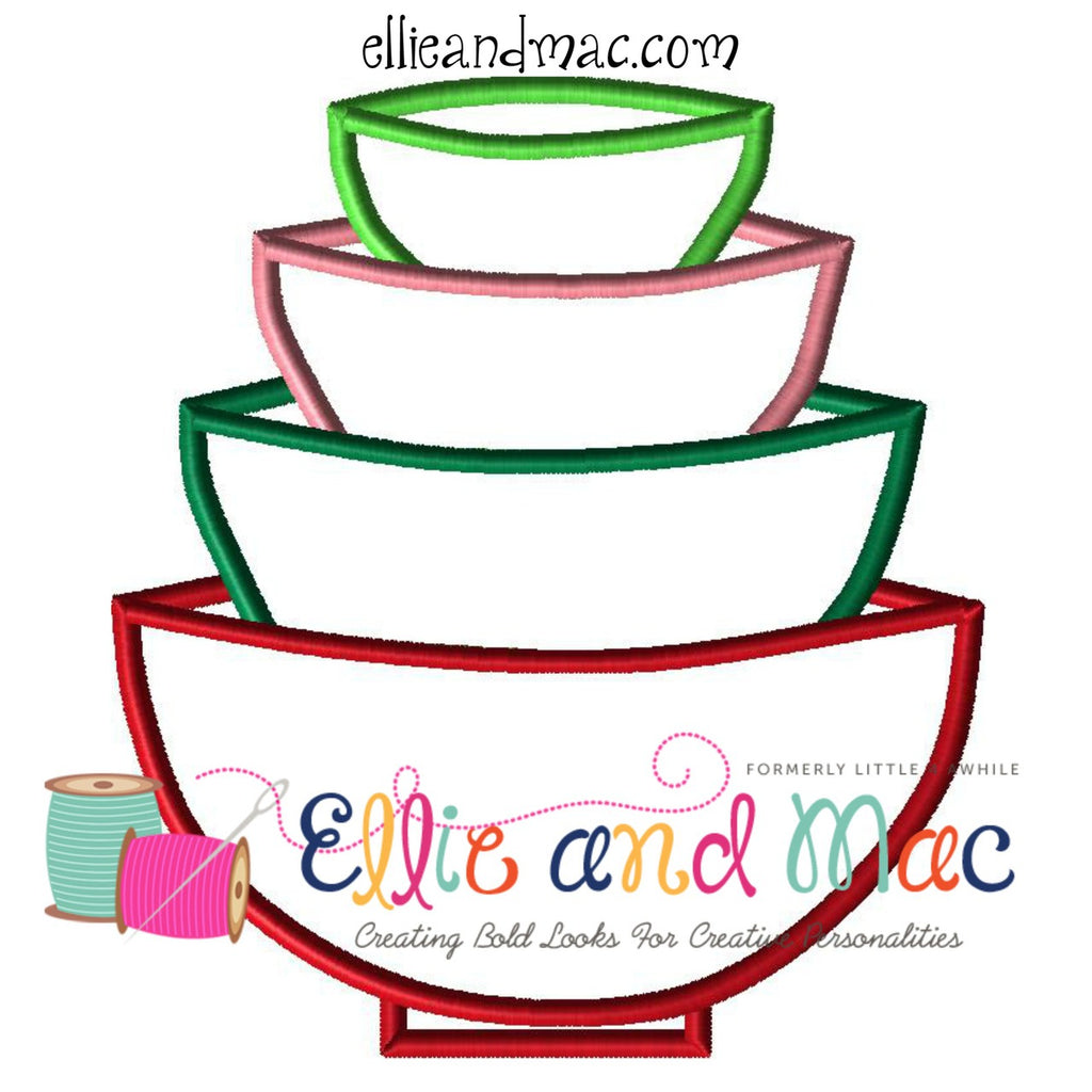 Stacked Bowls Baking Applique Design - Ellie and Mac, Digital (PDF) Sewing Patterns | USA, Canada, UK, Australia