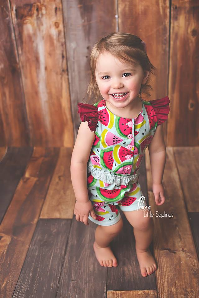 Girl's Strawberry Kisses Romper Pattern - Ellie and Mac, Digital (PDF) Sewing Patterns | USA, Canada, UK, Australia