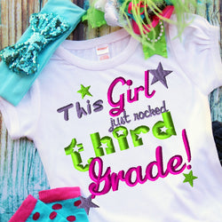 This Girl Just Rocked Third Grade Embroidery Design - Ellie and Mac, Digital (PDF) Sewing Patterns | USA, Canada, UK, Australia