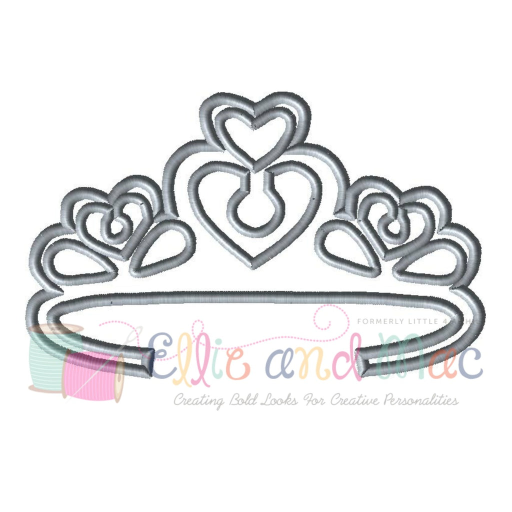 Heart Tiara Applique Design