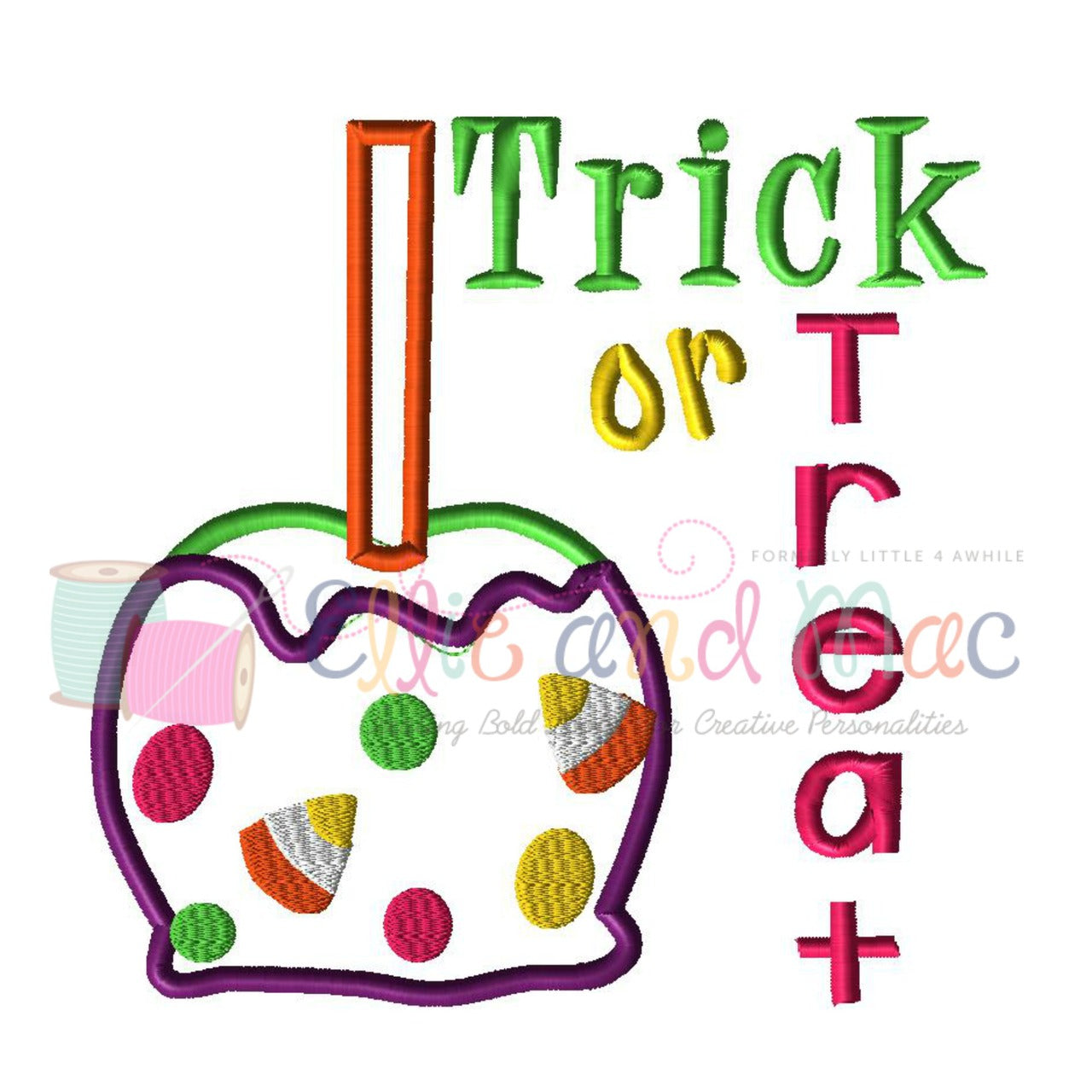 trick or treat halloween applique embroidery design – ellie and mac