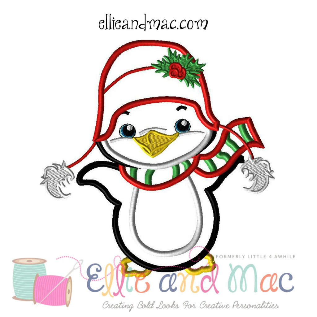 Winter Penguin Applique Design - Ellie and Mac, Digital (PDF) Sewing Patterns | USA, Canada, UK, Australia