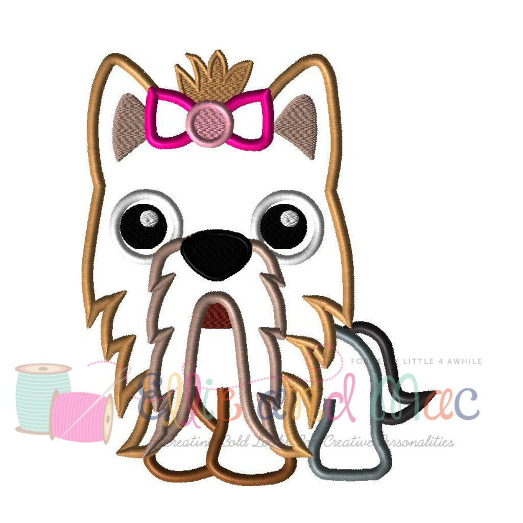 Yorkie Dog Applique Design