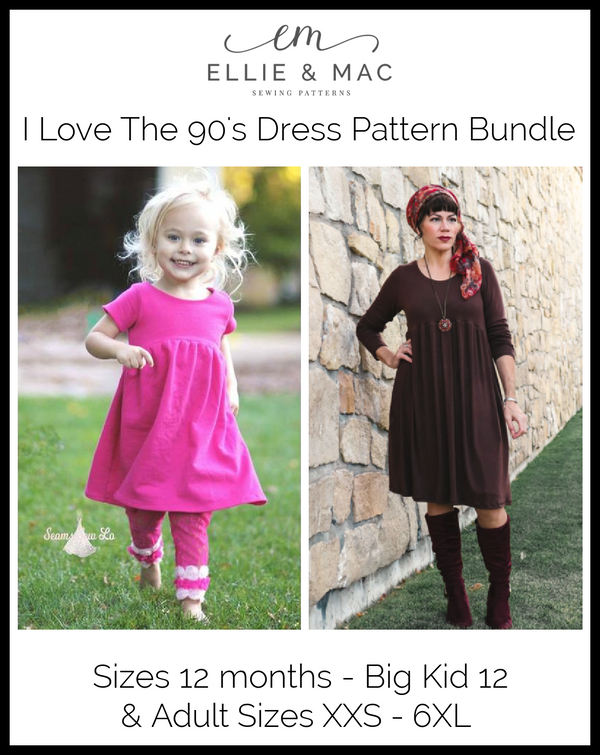 Child & Adult 90's Dress Pattern Bundle Pack