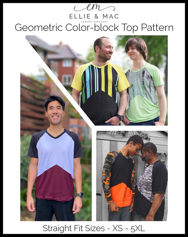 Geometric Color-Block Top Pattern (Straight Fit)