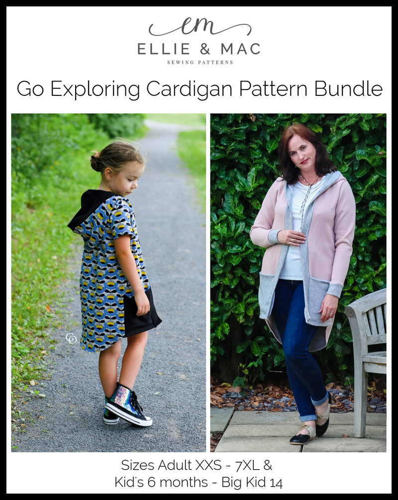 Go Exploring Cardigan Pattern BUNDLE PACK (adult's & kid's)