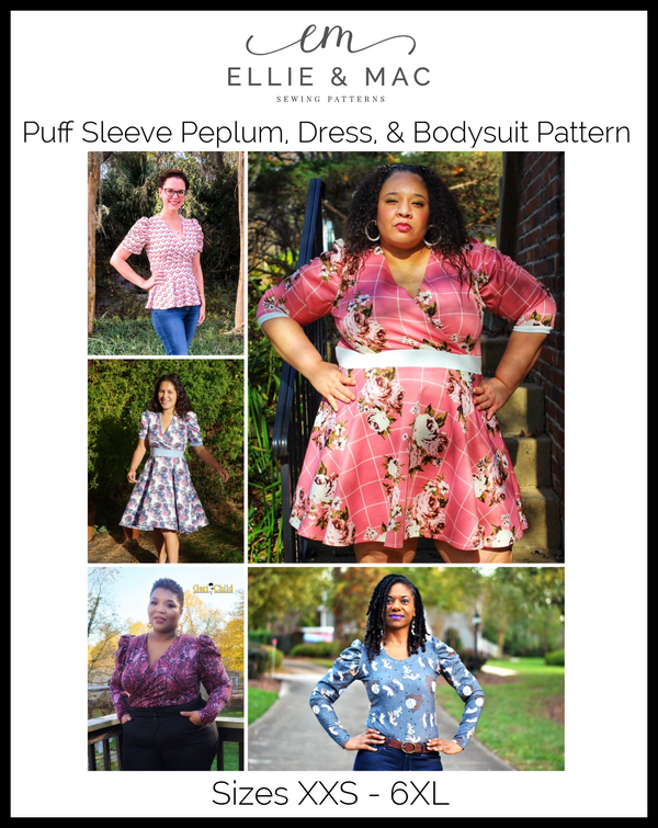 Puff Sleeve Peplum, Dress, & Bodysuit Pattern