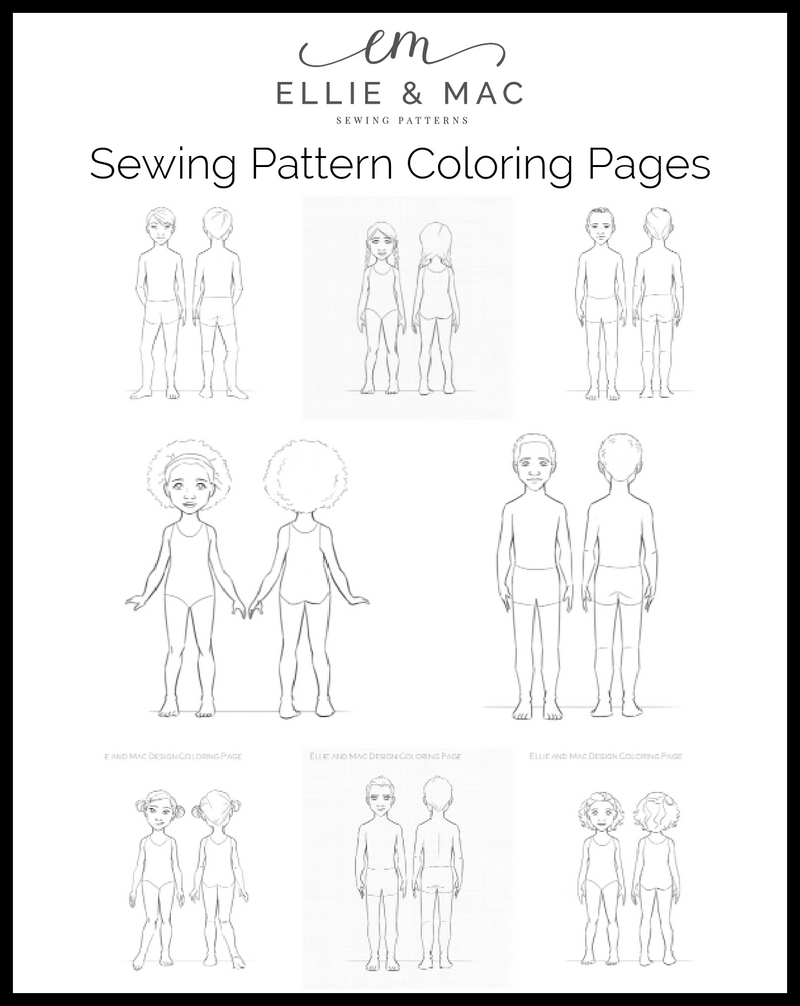 Sewing Pattern Coloring Pages Ellie And Mac