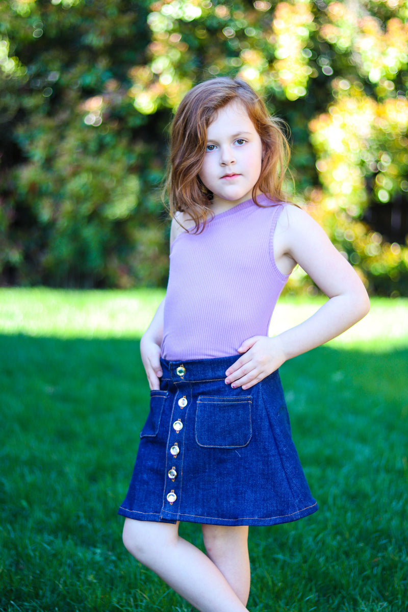 Kid's Button A-line Skirt Patttern