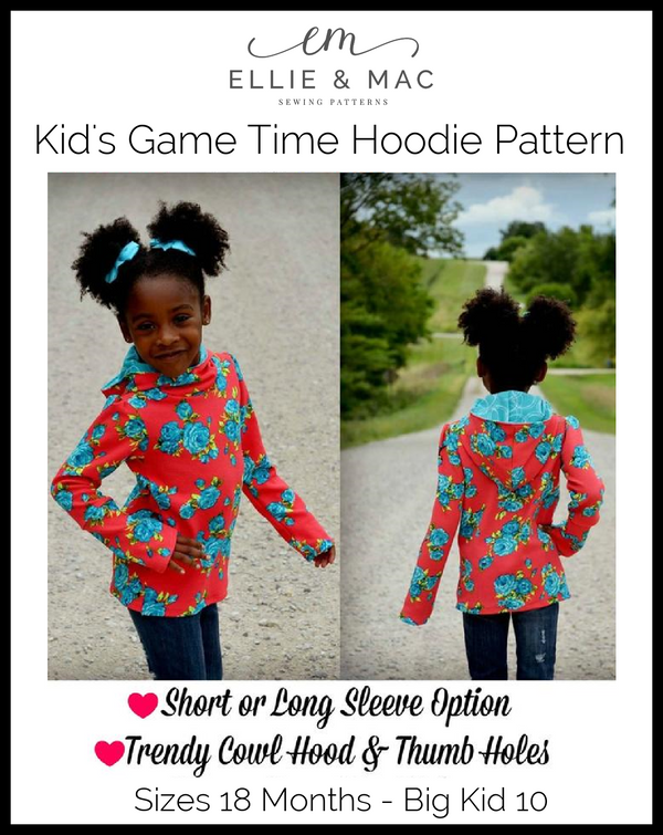 Kids Game Time Hoodie Pattern