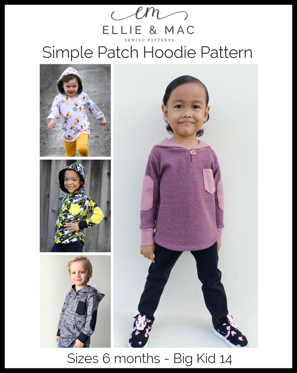 Kid's Simple Patch Sleeve Hoodie Wacky