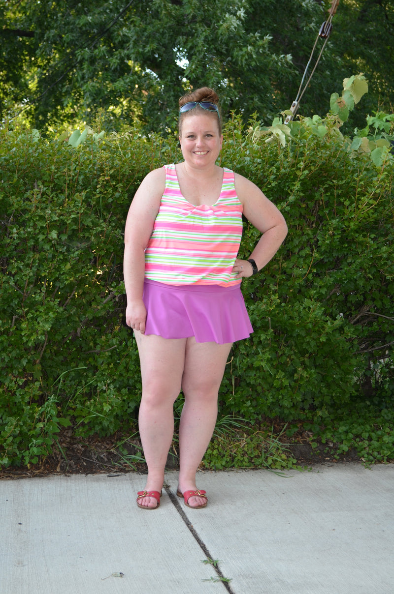 Gathered Tankini Swimsuit Mix & Match Pattern