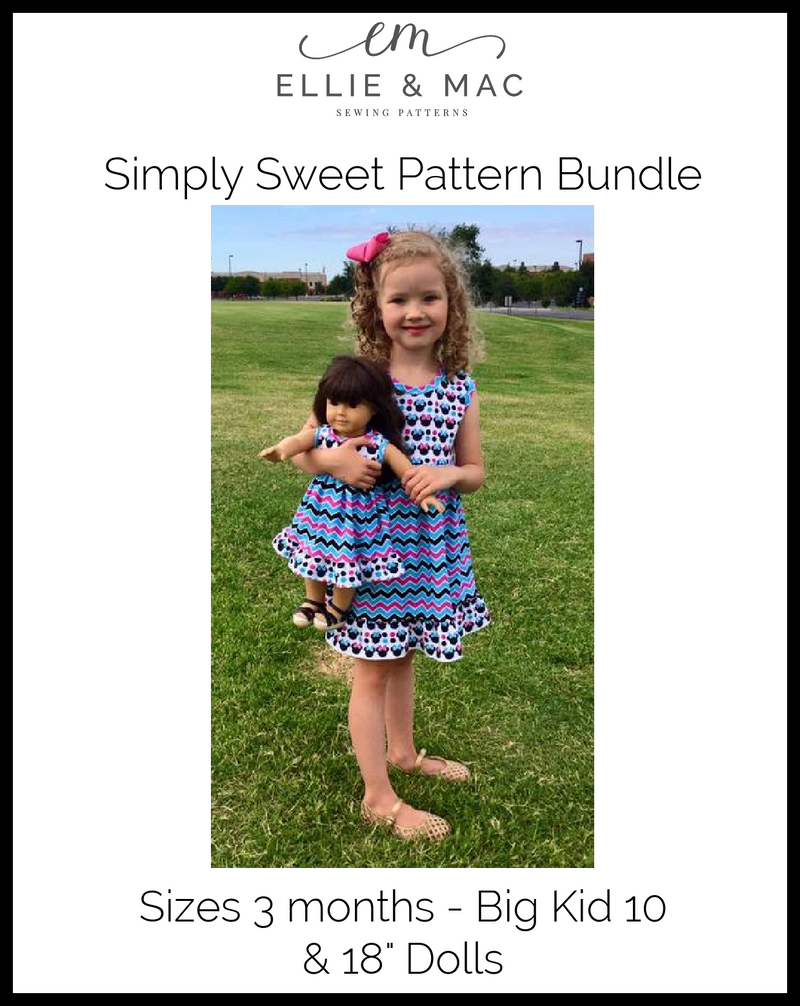 Simply Sweet Top & Dress Pattern Bundle Pack (Kids & Doll)