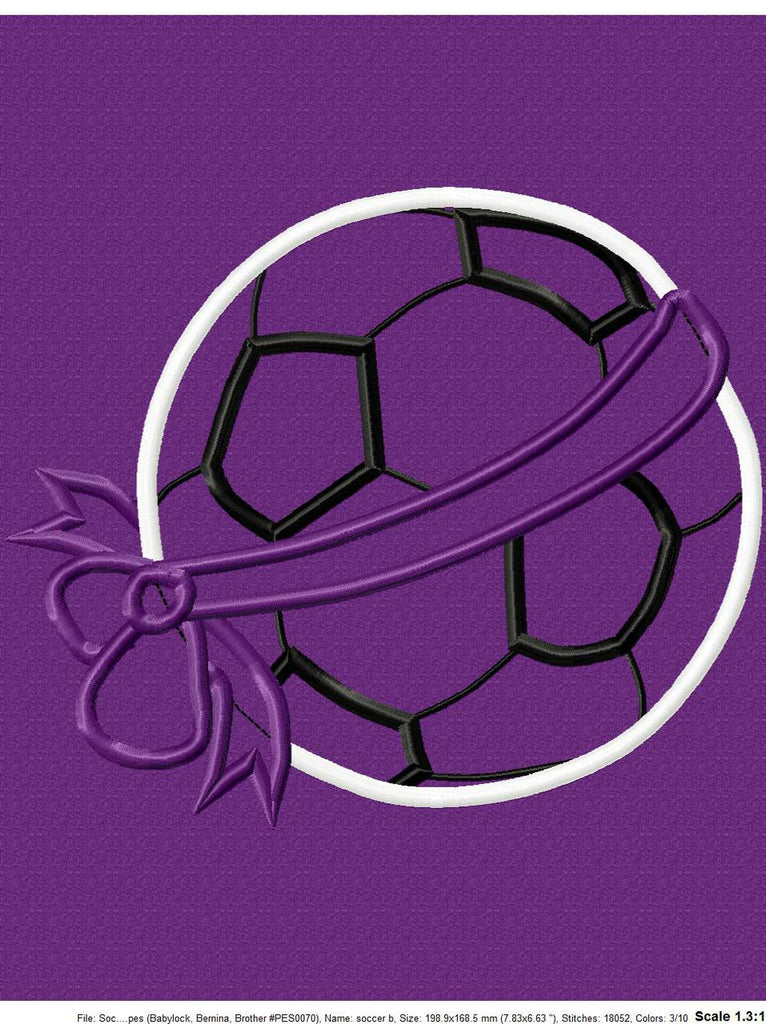 Soccer Ball Bow Applique Design