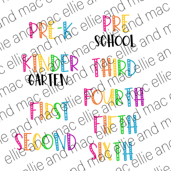 Hello __ Grade Bundle! Pre-K Kindergarten First Second Third Fourth Fifth Sixth Cut File