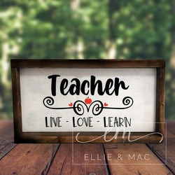 Teacher, Live Love Learn Cut File
