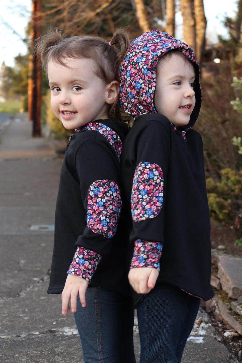 Kid's Simple Patch Sleeve Hoodie
