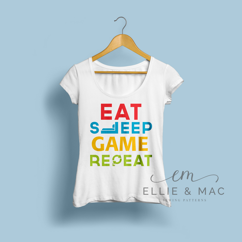 Eat Sleep Game Repeat SVG Cutting File