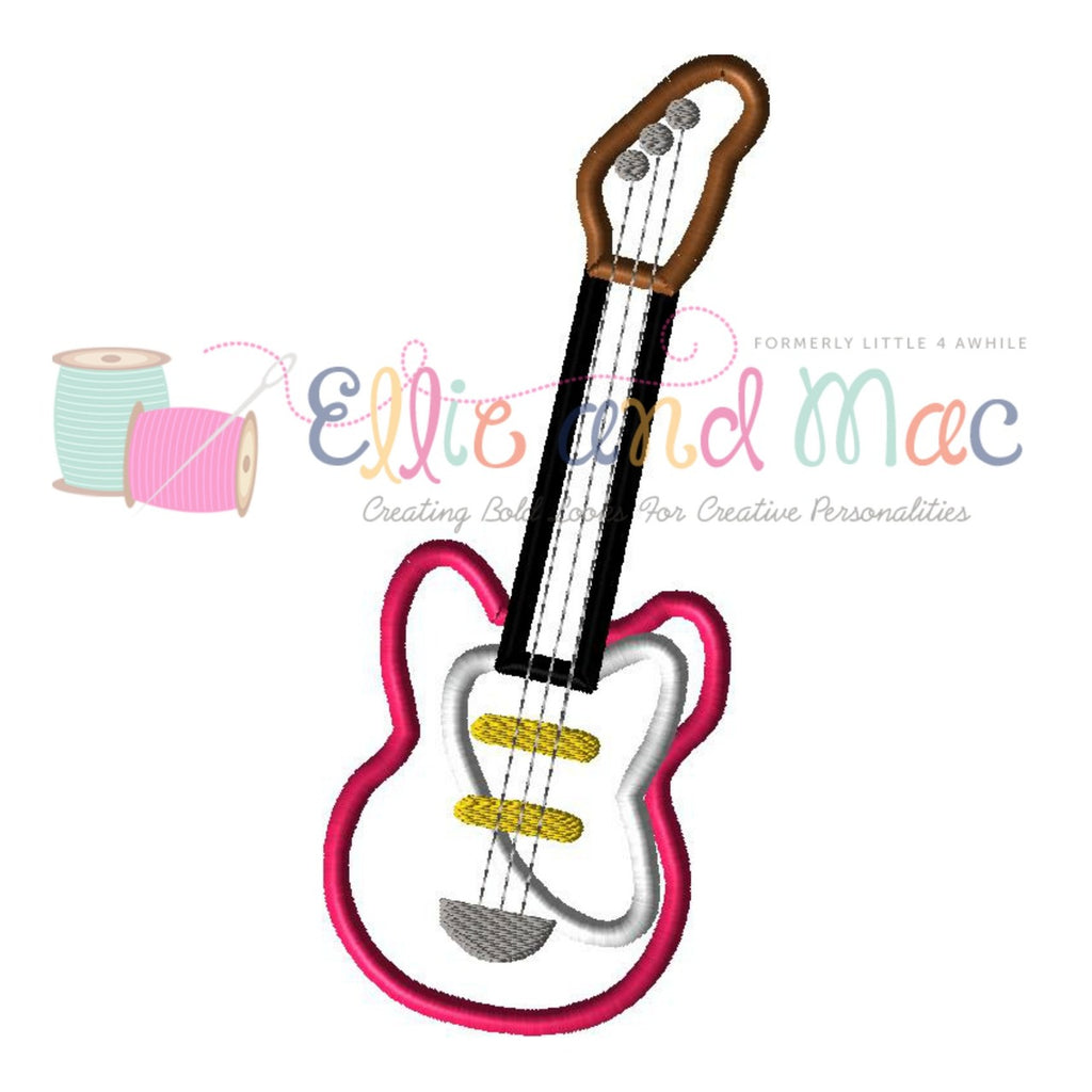 Electric Guitar Applique Design - Ellie and Mac, Digital (PDF) Sewing Patterns | USA, Canada, UK, Australia
