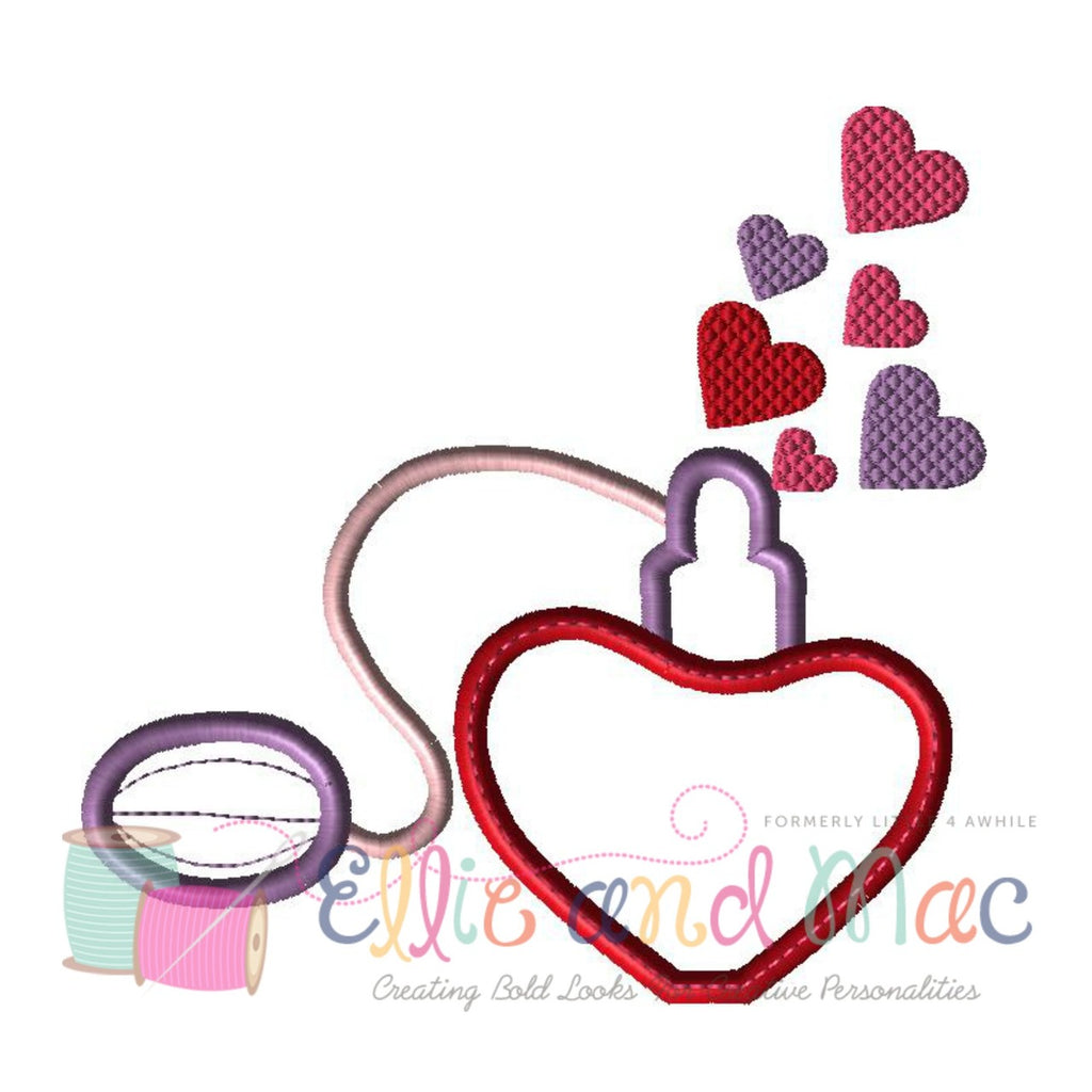 Heart Perfume Valentine Applique Design