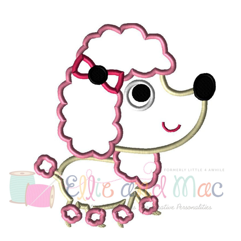 Pampered Poodle Dog Applique Design