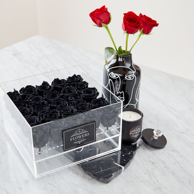 Acrylic Box with Black Long Lasting Roses